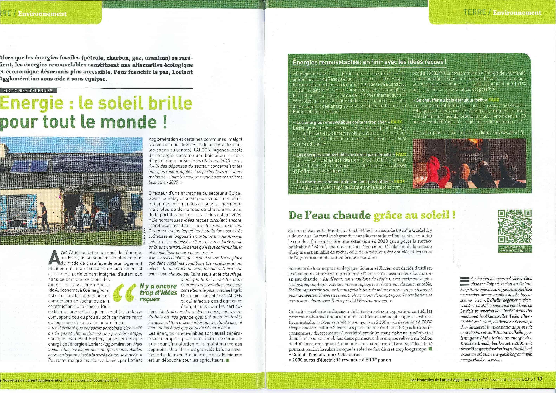 Parution Les Nouvelles de Lorient Agglomération - Décembre 2015